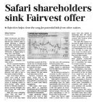 BUSINESS DAY: SAFARI SHAREHOLDERS SINK FAIRVEST OFFER
