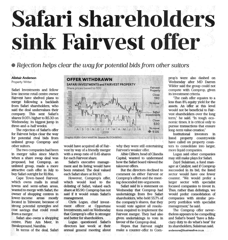 business-day-safari-shareholders-sink-fairvest-offer-august-15